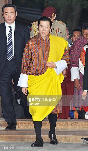 King Jigme Khesar Namgyel Wangchuck arrives at Meiji Jingu Shrine on November 17 2011 in Tokyo Japan