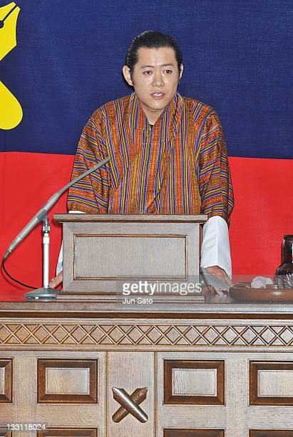 King Jigme Khesar Namgyel Wangchuck deliver the speech during the ceremony in which the king received an honorary doctorate from the Keio University...