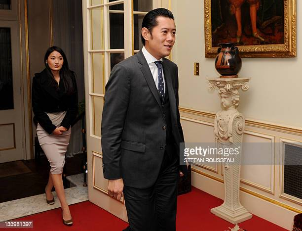 King Jigme Khesar Namgyel Wangchuk and Queen Jetsun Pema Wangchuck of Bhutan arrive to meet the Prince of Wales and Duchess of Cornwall at Clarence...