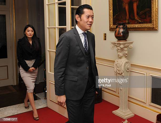 King Jigme Khesar Namgyel Wangchuk and Queen Jetsun Pema Wangchuk of Bhutan arrive at Clarence House on November 23 2011 in London England