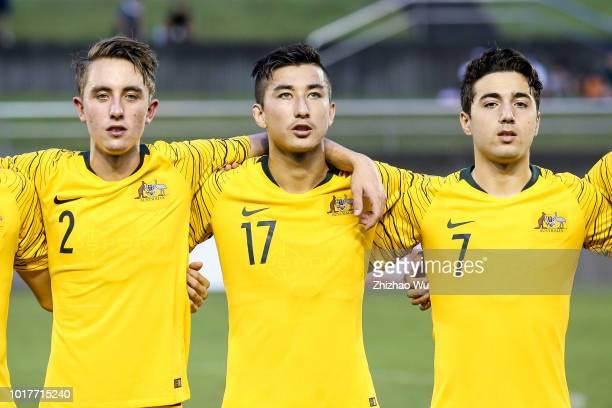 King Joel Akbari Rahmat Italiano Jacob of Australia in action during the Japan U18 and Australia U18 during the SBS Cup International Youth Soccer at...