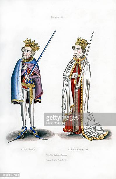 King John and King Henry I, c1440, . John wears clogs or pattens to keep his shoes clear of the mud. Illustration from Dresses and Decorations of the...