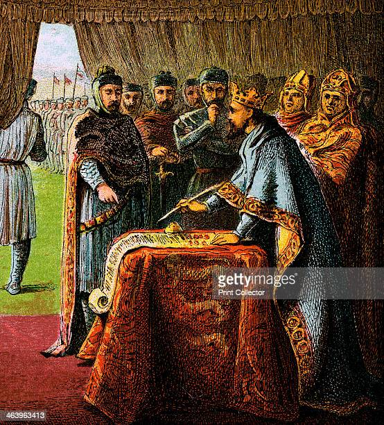 'King John And The Magna Carta' . Magna Carta is an English charter originally issued in 1215. Colour plate from Pictures of English History,...