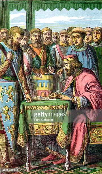 King John signing the Magna Carta at Runnymede Surrey 15 June 1215 John became King of England in 1199 The Angevin kings of England Henry II Richard...