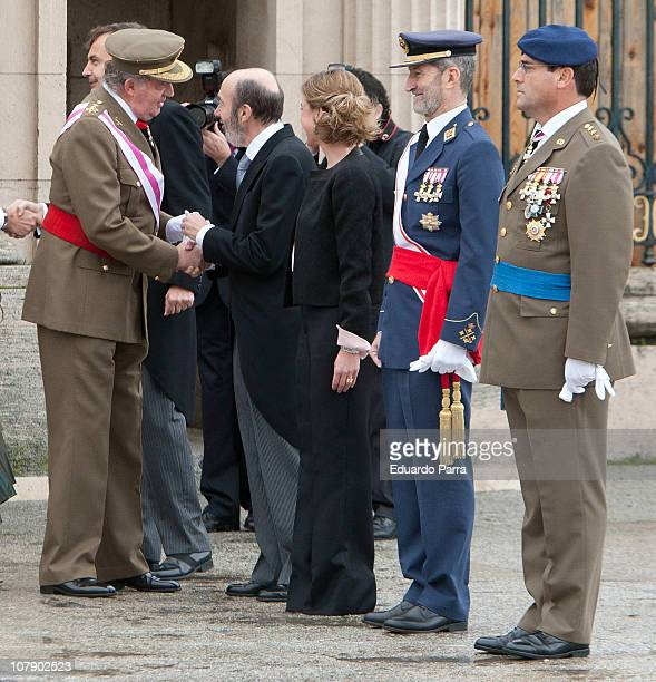 King Juan Carlos Alfredo Perez Rubalcaba and Carme Chacon attend the Pascua Militar ceremony at Royal Palace on January 6 2011 in Madrid Spain