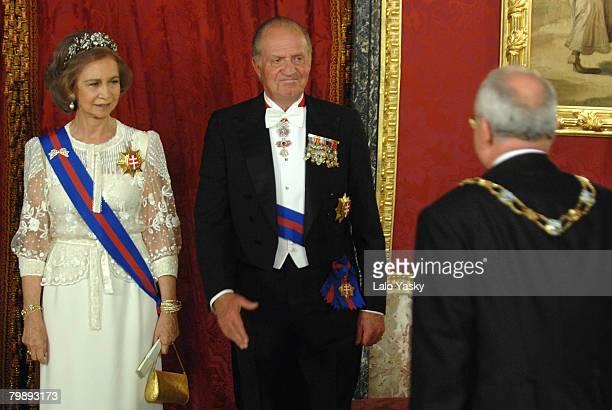 King Juan Carlos and HM Queen Sofia receive Slovakian President Ivan Gasparovic at the Royal Gala Dinner in honour of Slovakian President and his...