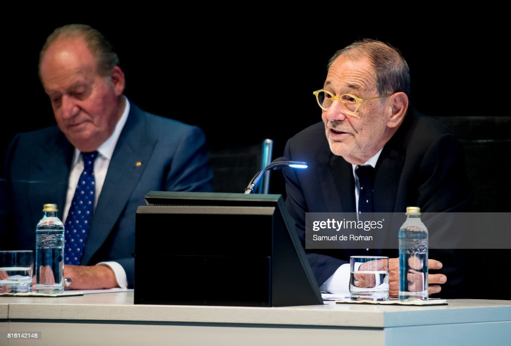 King Juan Carlos and Javier Solana attends the Rodrigo Uria Meruedano Tribute on July 17, 2017 in Madrid, Spain.