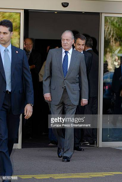 King Juan Carlos and President of Spain Jose Luis Rodriguez Zapatero leave the chapel of rest on November 4 2009 in Madrid Spain