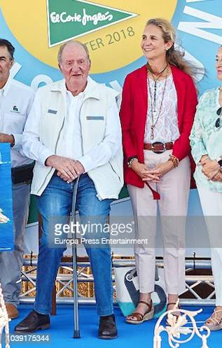 King Juan Carlos and Princess Elena attend the King Juan Carlos Race sailing at 'Bribon Gallant' on September 22 2018 in Sanxenxo Spain