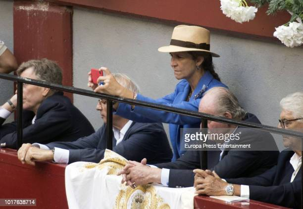 King Juan Carlos and Princess Elena of Spain attend Spanish bullfighters Enrique Ponce and Roca Rey perform at the San Sebastian bullring on August...