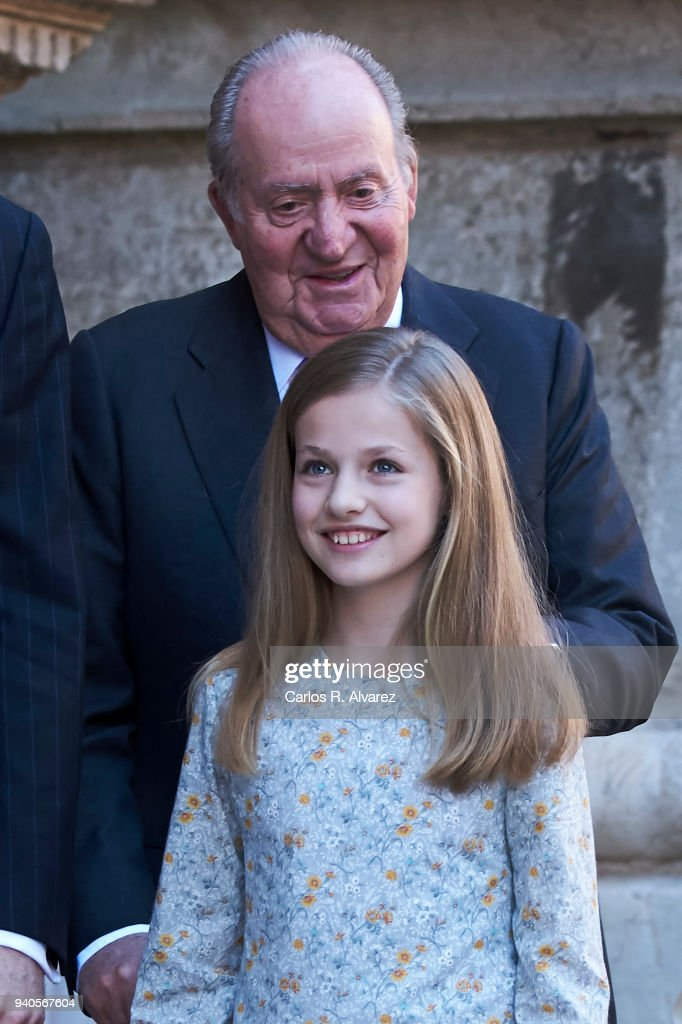 King Juan Carlos and Princess Leonor of Spain attend the Easter mass on April 1, 2018 in Palma de Mallorca, Spain.