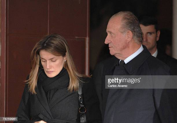 King Juan Carlos and Princess Letizia of Spain attend the funeral for Erika Ortiz younger sister of Princess Letiza on February 08 2007 at La Paz...