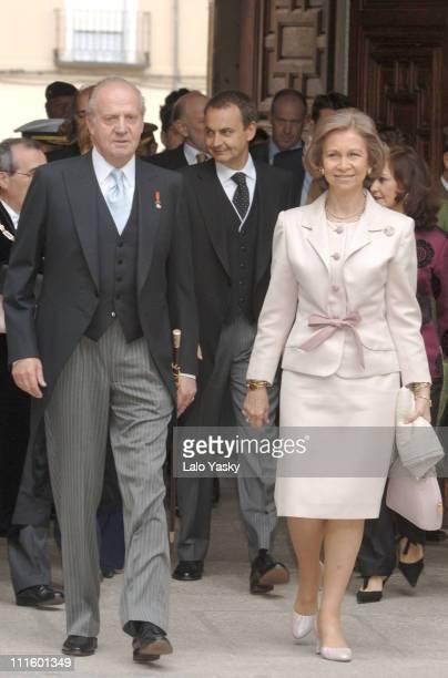 King Juan Carlos and Queen Sofia at the Alcala de Henares University, April 21 ahead of the Cervantes Literature Award Ceremony in Alcala de Henares...