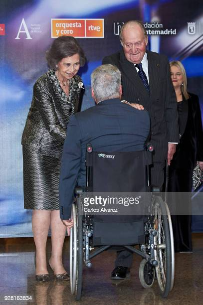King Juan Carlos and Queen Sofia attend a Concert Tribute for Victims of Terrorism at the National Auditorium on March 6 2018 in Madrid Spain