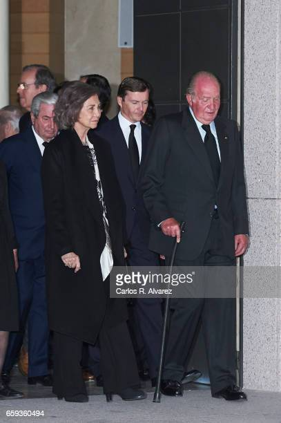 King Juan Carlos and Queen Sofia attend a funeral chapel for Alicia de Borbon Parma Duchess of Calabria at La Paz morgue on March 28 2017 in Madrid...