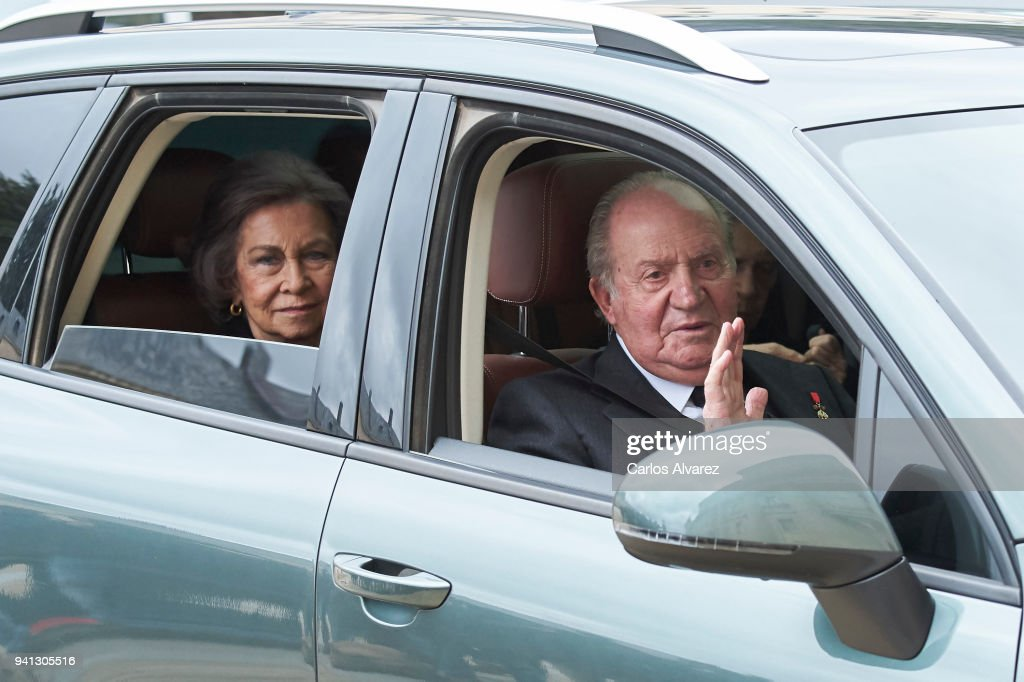 King Juan Carlos and Queen Sofia attend a Mass in occasion of the 25th anniversary of death of Conde de Barcelona, father of King Juan Carlos, at San Lorenzo del Escorial Monastery on April 3, 2018 in El Escorial, Spain.