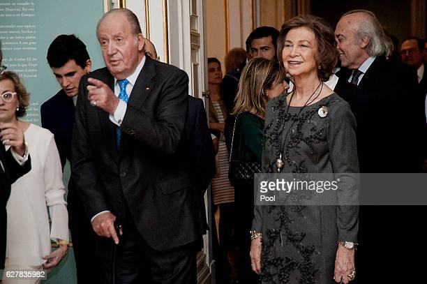 King Juan Carlos and Queen Sofia attend 'Carlos III' exhibition at the Royal Palace on December 5 2016 in Madrid Spain