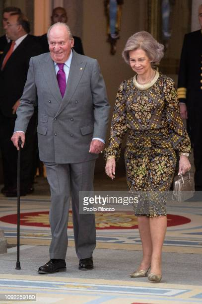 King Juan Carlos and Queen Sofia attend the National Sports Awards 2017 at the El Pardo Palace on January 10, 2019 in Madrid, Spain.