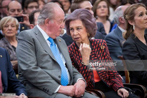 King Juan Carlos and Queen Sofia attend the National Sports Awards ceremony at El Pardo Palace on February 19 2018 in Madrid Spain