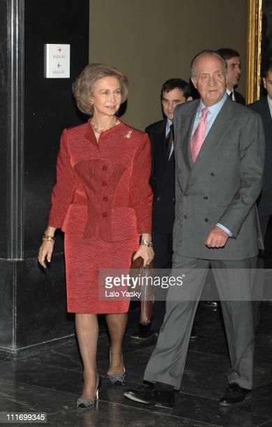King Juan Carlos and Queen Sofia attend the opening of 'Fabulas de Velazquez Mitologia e Historia Sagrada del Siglo de Oro' exhibition at Museo del...