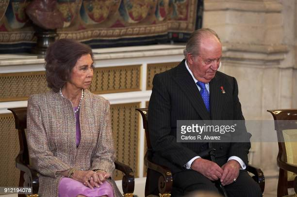King Juan Carlos and Queen Sofia attend the Order of Golden Fleece ceremony at the Royal Palace on January 30 2018 in Madrid Spain Today is King's...