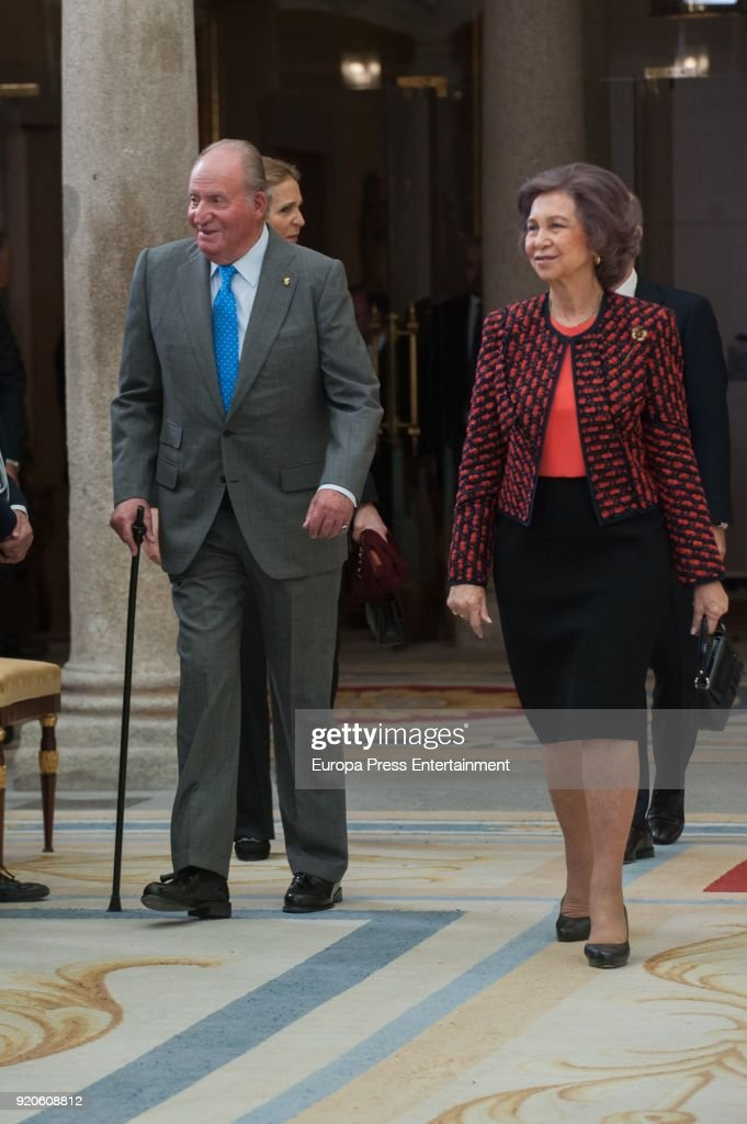 King Juan Carlos and Queen Sofia deliver the National Sports Awards at El Pardo Palace on February 19, 2018 in Madrid, Spain.
