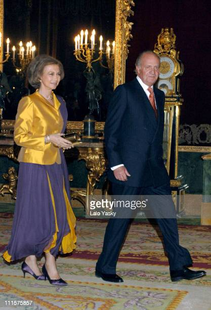 King Juan Carlos and Queen Sofia during Institutional Reception to Celebrate the 30th Aniversary of King Juan Carlos Coronation at Royal Palace in...