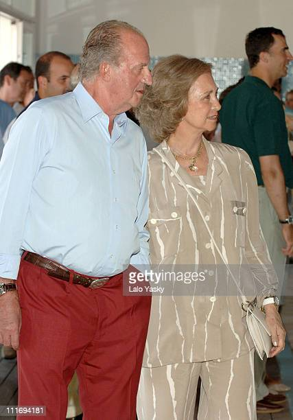 King Juan Carlos and Queen Sofia during Opening of a Photo Exhibition to Conmemorate the 25th Aniversary of the Copa del Rey Sailing Trophy at Real...