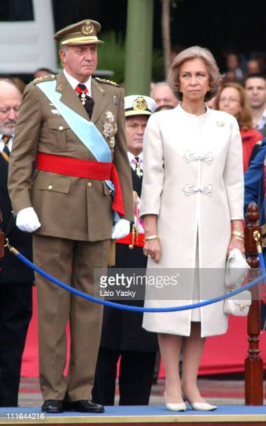 King Juan Carlos and Queen Sofia during Spain's National Day Militar Parade October 12 2003 at Plaza de Colon in Madrid Spain