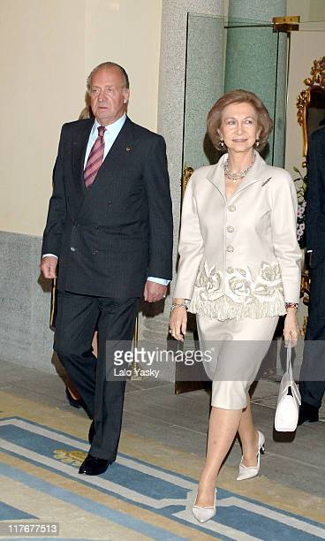 King Juan Carlos and Queen Sofia during Spanish Royals Attend the National Sports Awards Ceremony December 19 2005 at El Pardo Palace in Madrid Spain