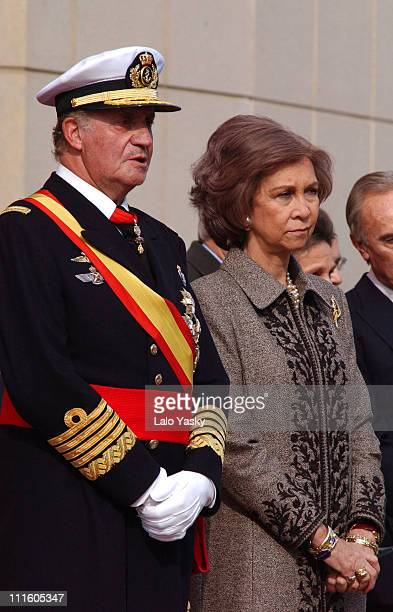 King Juan Carlos and Queen Sofia during The Spanish Royal Family at the Frigate 'Juan de Borbon' Flag Ceremony at Harbour of Barcelona in Barcelona...