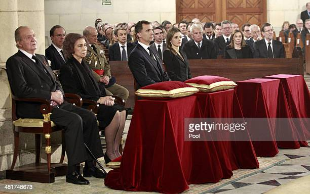 King Juan Carlos and Queen Sofia of Spain are accompanied by Prince Felipe and Princess Letizia with In background front row former Prime Ministers...