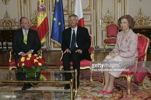 King Juan Carlos and Queen Sofia of Spain are on a 3day official State visit to France In Paris France On March 28 2006French Prime Minister...