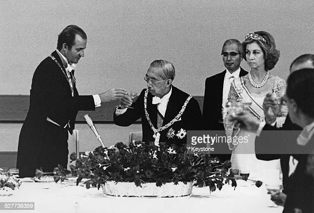 King Juan Carlos and Queen Sofia of Spain are received by Emperor Hirohito during a visit to Tokyo Japan 27th October 1980