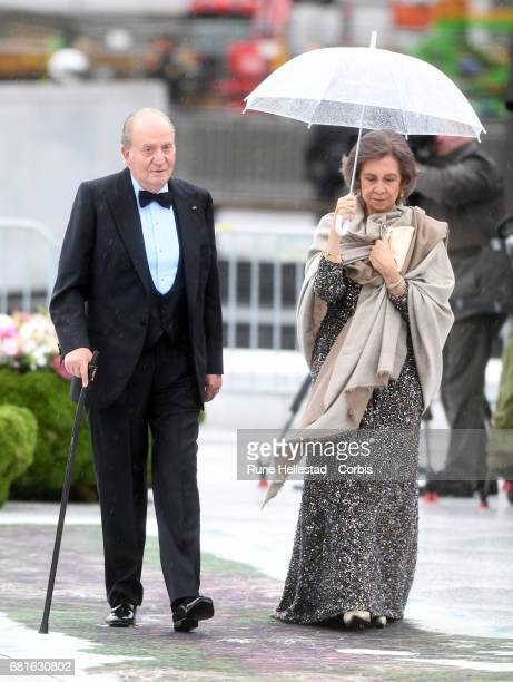 King Juan Carlos and Queen Sofia of Spain are seen arriving at the Opera House on the occasion of the celebration of King Harald and Queen Sonja of...