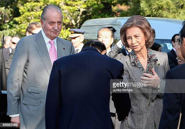 King Juan Carlos and Queen Sofia of Spain arrive at Sento Imperial Palace on November 14, 2008 in Kyoto, Japan. The King and Queen are on six-day...