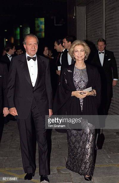 King Juan Carlos And Queen Sofia Of Spain Arriving For 'the Royal Gala' At The Royal Festival Hall In London To Celebrate The British Monarch's...
