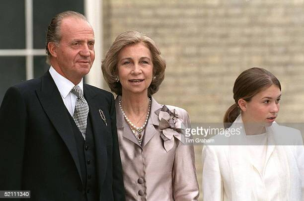 King Juan Carlos And Queen Sofia Of Spain Arriving For The Wedding Reception For Princess Alexia Of Greece And Carlos Morales Quintana At Kenwood...