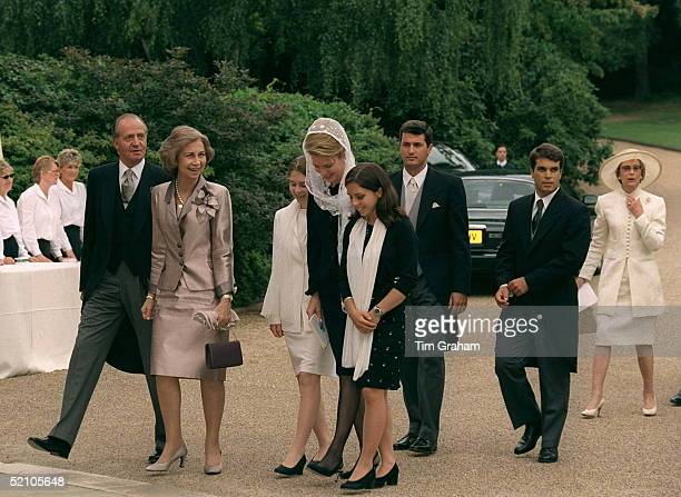 King Juan Carlos And Queen Sofia Of Spain Arriving With Queen Noor And Other Guests For The Wedding Reception For Princess Alexia Of Greece And...