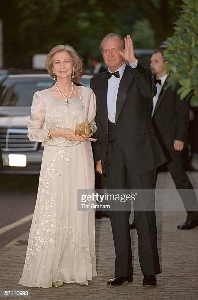 King Juan Carlos And Queen Sofia Of Spain At Bridgewater House For A Party For The Wedding Of Princess Alexia Of Greece