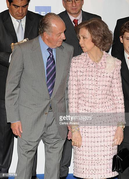 King Juan Carlos and Queen Sofia of Spain attend 25th international journalism awards Rey de Espana and 4th journalism award Don Quijote on May 08...