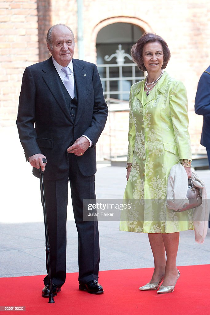 King Juan Carlos and Queen Sofia of Spain attend a Lunch at City Hall Stockholm, on the occasion of King Carl Gustaf of Sweden's 70th Birthday, on April 30, 2016, in Stockholm, Sweden.