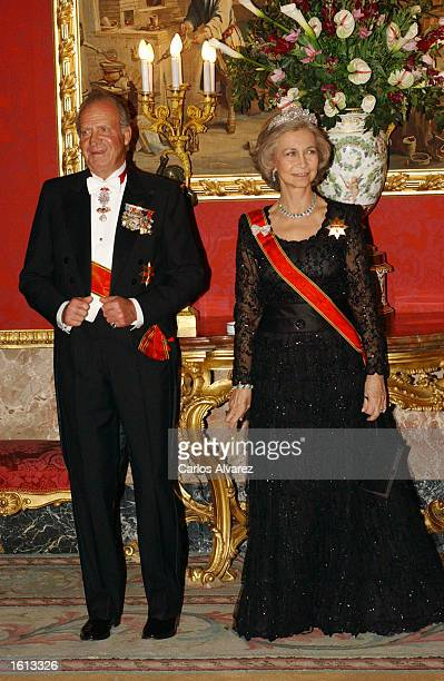 King Juan Carlos and Queen Sofia of Spain attend a reception in honor of German President Johannes Rau and his wife Christina November 11 2002 at the...