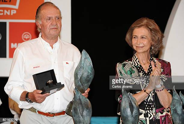 King Juan Carlos and Queen Sofia of Spain attend the 27th Copa del Rey Mapfre Audi Sailing Cup Awards Celebration at Ses Voltes Cultural Center on...