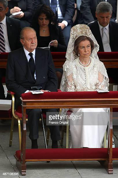 King Juan Carlos and Queen Sofia of Spain attend the Canonization Mass in which John Paul II and John XXIII are to be declared saints on April 27...
