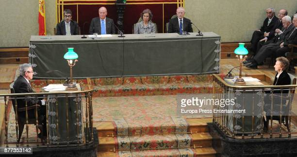 King Juan Carlos and Queen Sofia of Spain attend the giving ceremony of 2016 Echegaray Medal award to Margarita Salas at Real Academia de Ciencias...