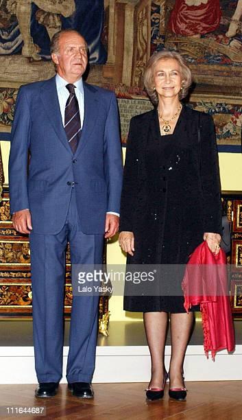 King Juan Carlos and Queen Sofia of Spain during King Juan Carlos and Queen Sofia of Spain Open Cortes del Barroco From Bernini and Velzaquez to Luca...