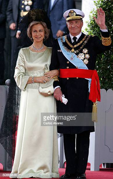 King Juan Carlos and Queen Sofia of Spain leave after they attended the wedding ceremony between Spanish Crown Prince Felipe de Bourbon and former...