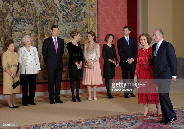 King Juan Carlos and Queen Sofia of Spain preside Gala Dinner for his 70th birthday on January 09, 2008 at the El Pardo Palace near of Madrid.