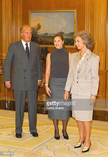 King Juan Carlos and Queen Sofia of Spain receive Princess Victoria of Sweden for a lunch at La Zarzuela Palace November 6 2002 in Madrid Spain